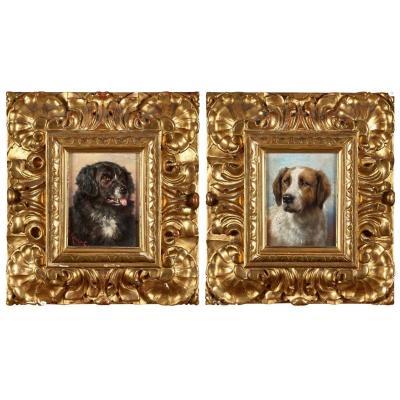 Two Dog Portraits By Carl Reichert