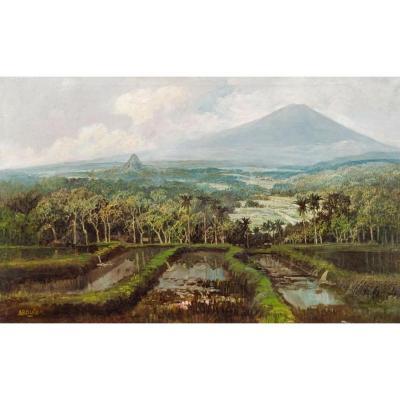 Tableau Indonésien - Volcan Merapi à Java, Abdullah