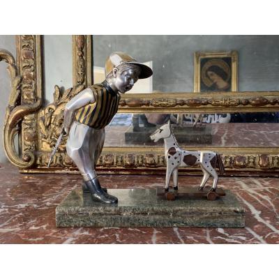 Bronze d'époque Art Déco Représentant Un Jockey Et Son Cheval