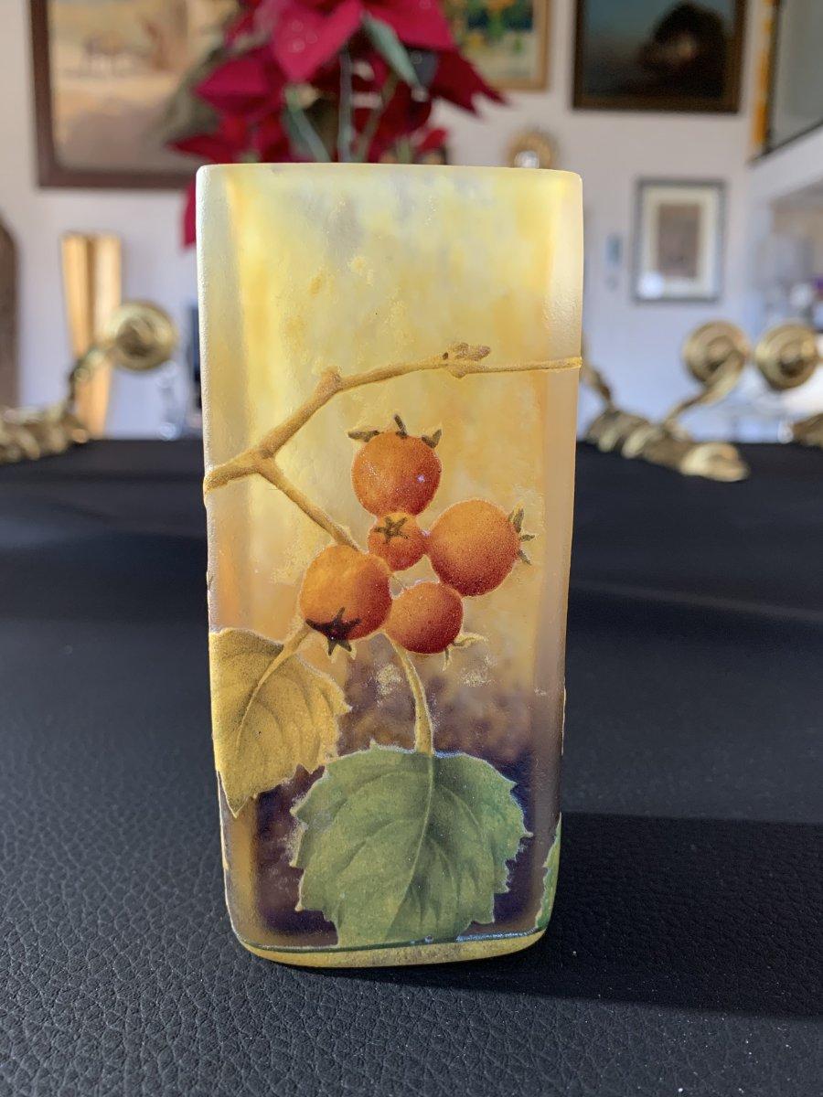 Daum Nancy - Vase De Séction Carré En Verre Multicouche Teinté Et émaillé Vers1900