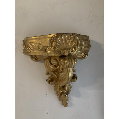 Console In Jardiniere Wall Lamp In Golden And Carved Wood Of The XIXth Century