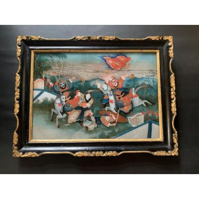 China. Painting In Fixed Under Glass Representing A Combat Scene From The XIXth Century
