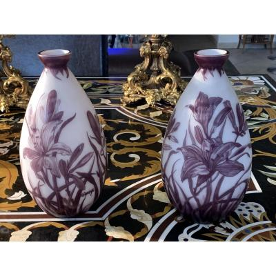 Paire De Vases Signée d'Argyl Atelier Legras En Verre Multicouches Dégagé A l'Acide