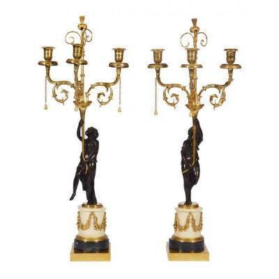 Paire De Candélabres En Bronze Doré à Trois Bras De Lumières d'époque Louis XVI