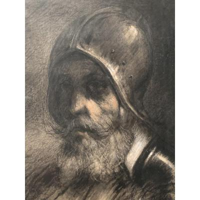 Antoine Vollon (1833-1900) Drawing Portrait Of Man In Armor