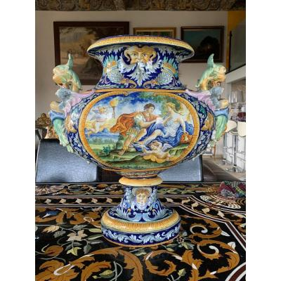 Majolica: Important Planter On Pedestal In Italian Earthenware From The XIXth Century