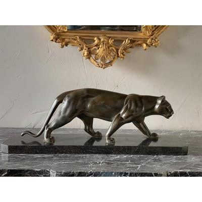 Panther Art Deco In Regulates Patinated Bronze, Signed On The Back Leg M.leducq