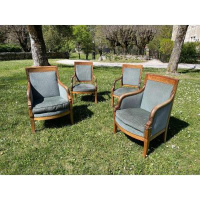 Suite Of Two Bergères And Two Empire Period Armchairs In Blond Mahogany