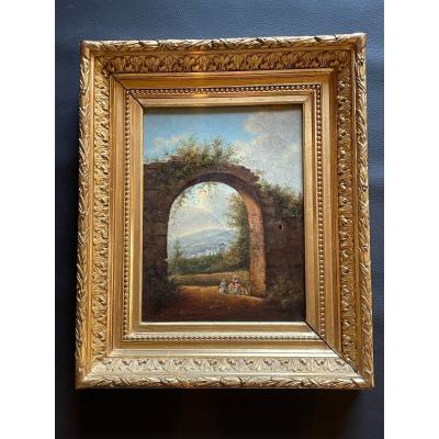19th Century French School Painting With Ruined Door Decor Oil On Canvas