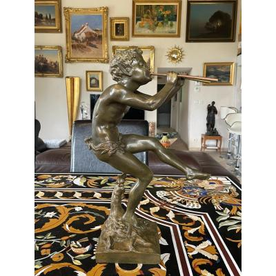 Clodion (1738-1814) After. Faun Playing Double Flutes In Bronze