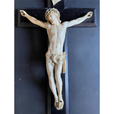 Large Christ In Carved Ivory From The XIXth Century