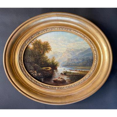 Table Representing A Lacustrine Alpine Landscape, French School From The Middle Of The XIXth Century