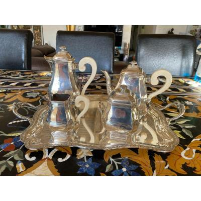 Beautiful Coffee Tea Service In Sterling Silver Art Deco Style Ivory Sleeves