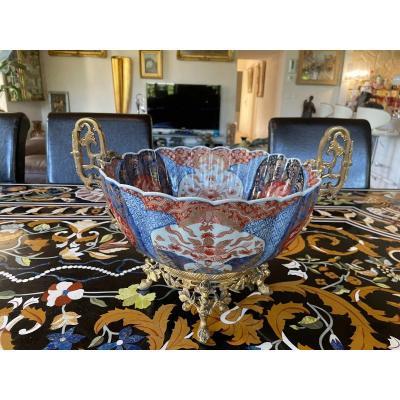 Grande Coupe En Porcelaine Imari Et Bronze Doré Du XIXème Siècle