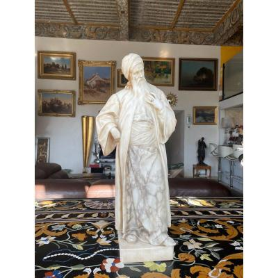 Large Orientalise Marble Sculpture From The XIXth Century Old Bearded Man