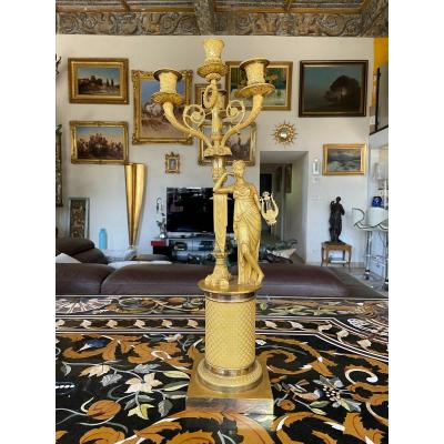 """Large Candelabra In Gilt Bronze Empire Period """"muse With The Harp"""""""