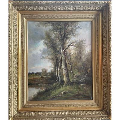 Table Barbizon School From The End Of The XIXth Century, Golden Frame With Gold Leaf