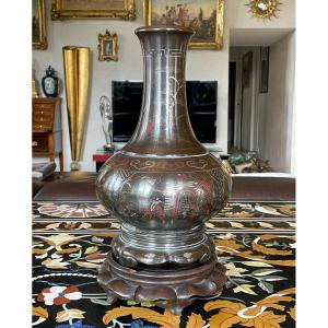 Bronze Vase, Vietnam, Late 19th, Early 20th Century. Lacquer And Silver Inlay