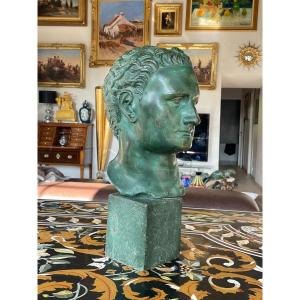 Bronze Bust With Green Patina Representing A Roman Emperor Late 18th-early 19th Century