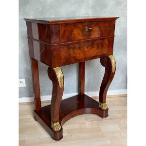 Jacob-desmalter (1770-1841) Salon Table Forming Dressing Table In Mahogany And Gilt Bronze