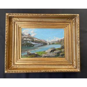 Edouard Brun (1860-1935). Le Lac Du Col, Les Sept Laux Belledonne Isère.