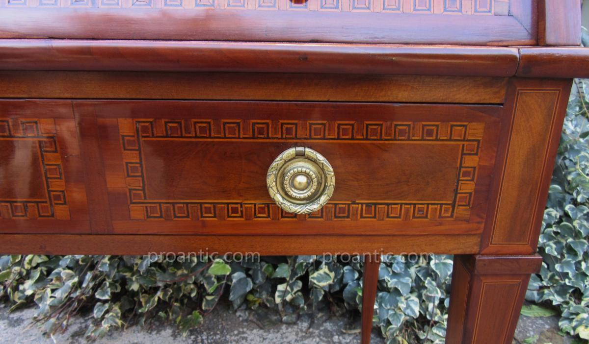 Bureau Cylindre En Bois De Placage Marqueté Fin 18ème-photo-6