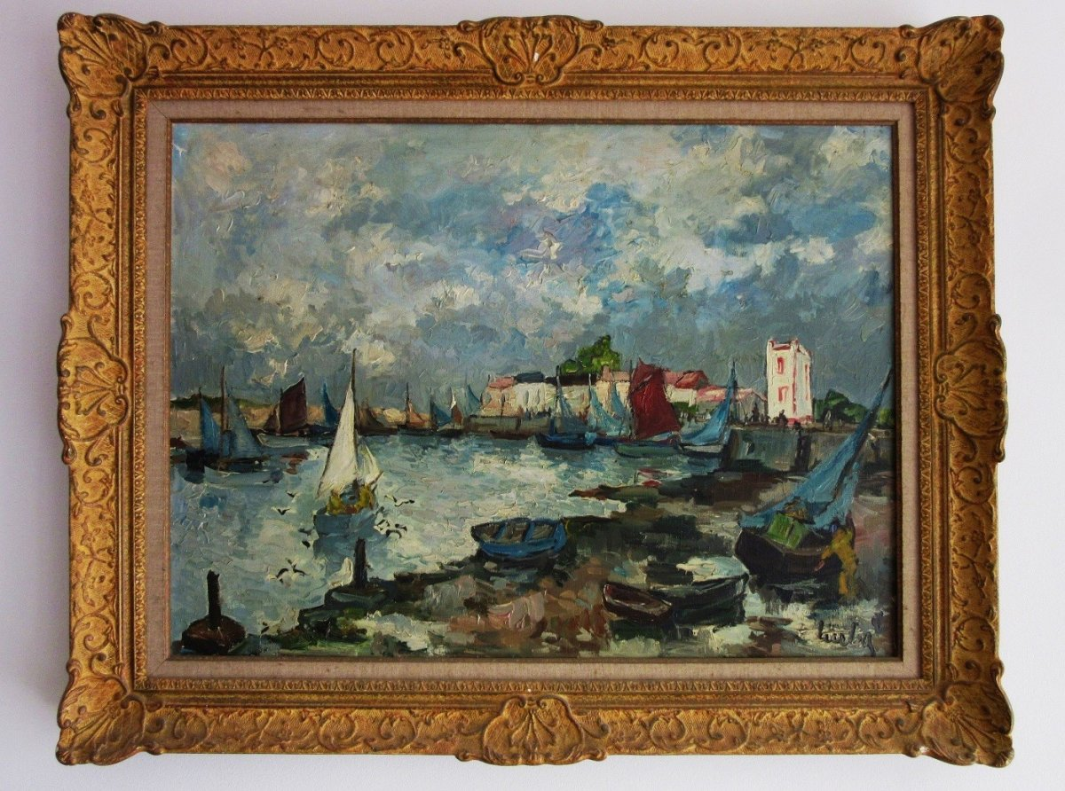 """Marine """"Port De St Gilles Croix De Vie"""" Huile Sur Toile Sign. Fernand Herbo"""