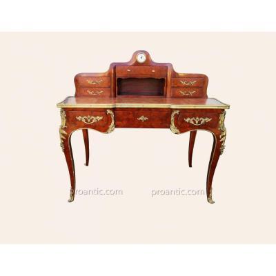 Bureau à Gradin De Style Louis XV En Marqueterie Ep.19ème