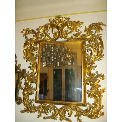 Miroir En Bois Doré Venitien