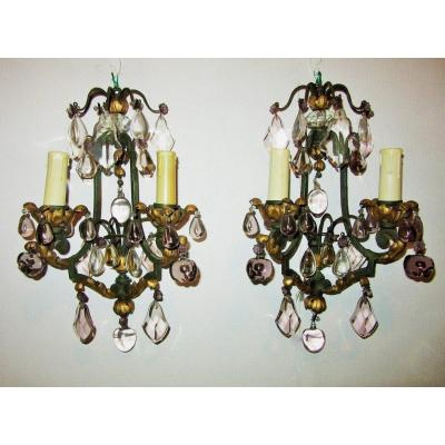 Pair Of Wrought Iron Sconces With Fruit Decor