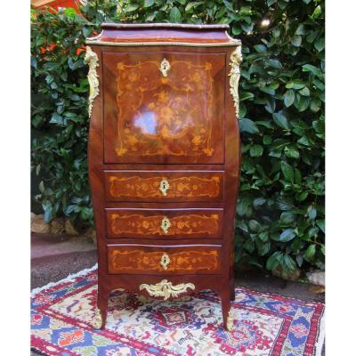 Small Secretary At Doucine In Marquetry Of Flowers Ep.19th