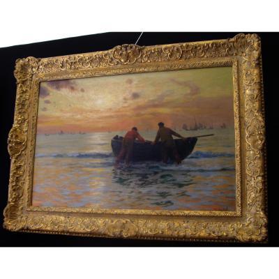 Marine Huile Sur Toile Signée De Charles Roussel (1861-1936)
