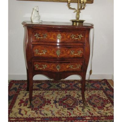 Small Commode In Marquetry Louis XV Style Ep.19th