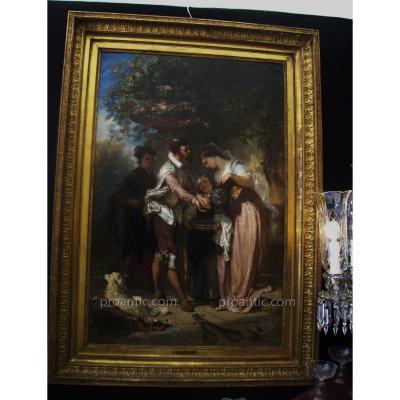 Huile Sur Toile Signée Henri Charles Antoine Baron 1816-1885