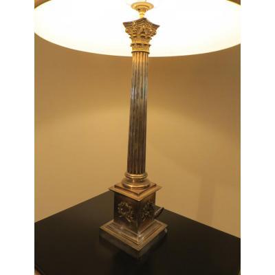 Lampe Bronze Argenté Forme De Colonne