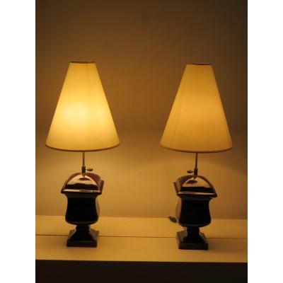 Paire De Lampes Céramique Marron