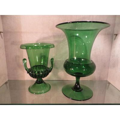 Two Green Glass Vases