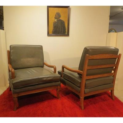 Pair Of Gray Leather Armchairs