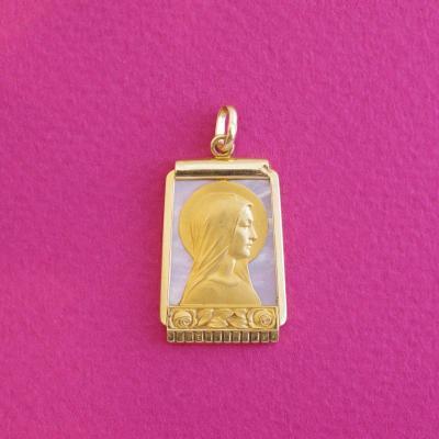 Médaille des années 30-40, Vierge Marie en or sur fond nacre