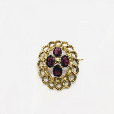 Yellow Gold Brooch, Napoleon III - Victorian Period, Twisted Gold And Garnets