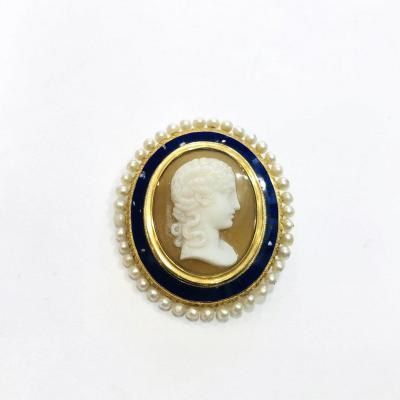 Cameo Brooch On Agate Surrounded By Enamel And Pearls, Victorian Period