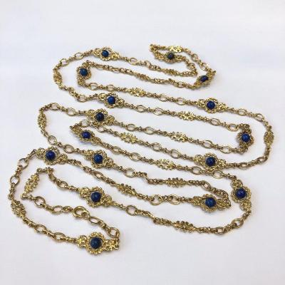 Long Necklace In Gold And Lapis Lazuli Pearls, Neo-gothic Chain From The Late 19th Century