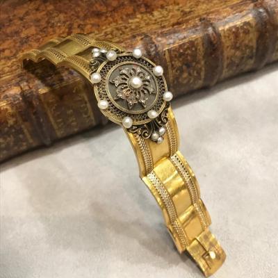 Bracelet démontable en or, perles naturelles et diamants en rose, Napoléon III, Milieu 19ème