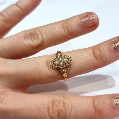 Bague navette ornée de perles, traces d'émail, période Napoléon III