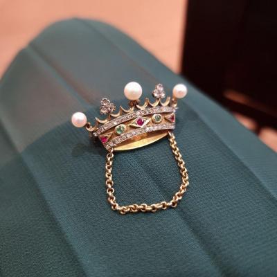Broche couronne de marquis, perles, diamants, émeraudes, rubis, France 19ème