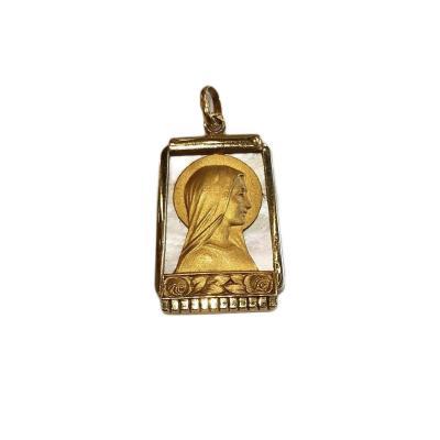 Médaille pendentif Art Deco religieuse Vierge Marie sur nacre