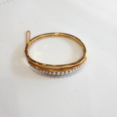French Antique Gold And Pearl Bangle Bracelet, Victorian Period