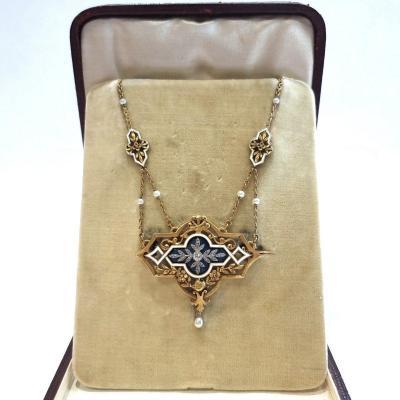 Necklace In Gold, Enamel, Diamonds And Fine Pearls, Belle Époque - Art Nouveau Gautrait Period