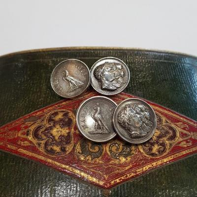 Silver Cufflinks, Napoleon I And His Family, March 1815 By Andrieu