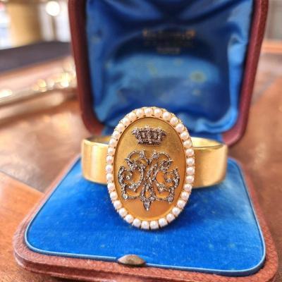 Gold And Pearl Bracelet From Napoleon III Period, Felix Samper Rue De La Paix